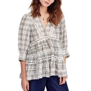 Free People | Time out plaid lace trim tunic